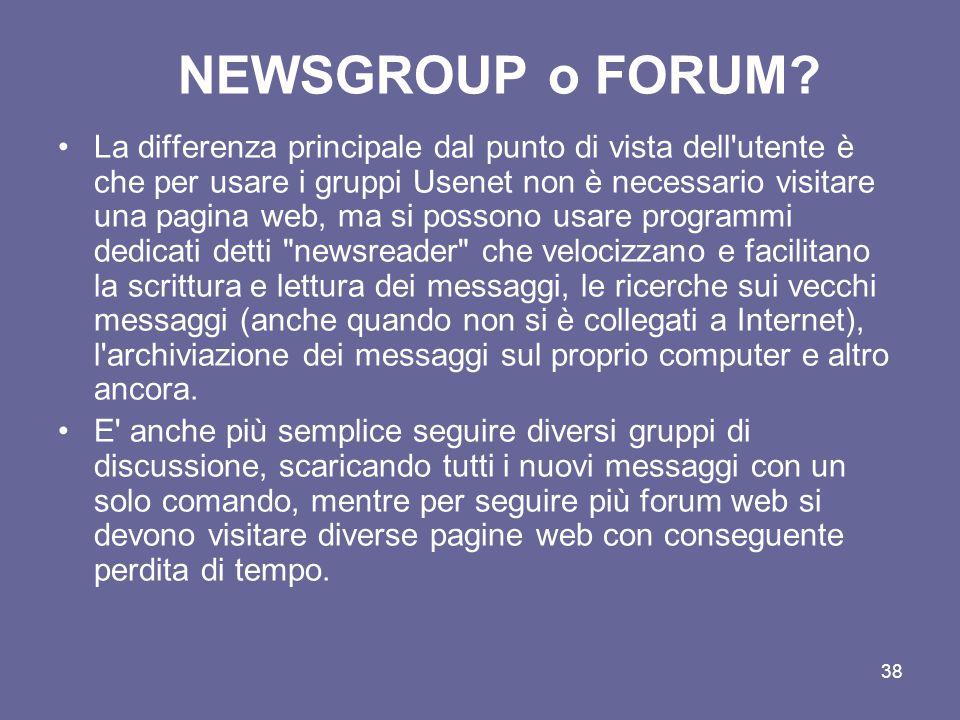NEWSGROUP o FORUM