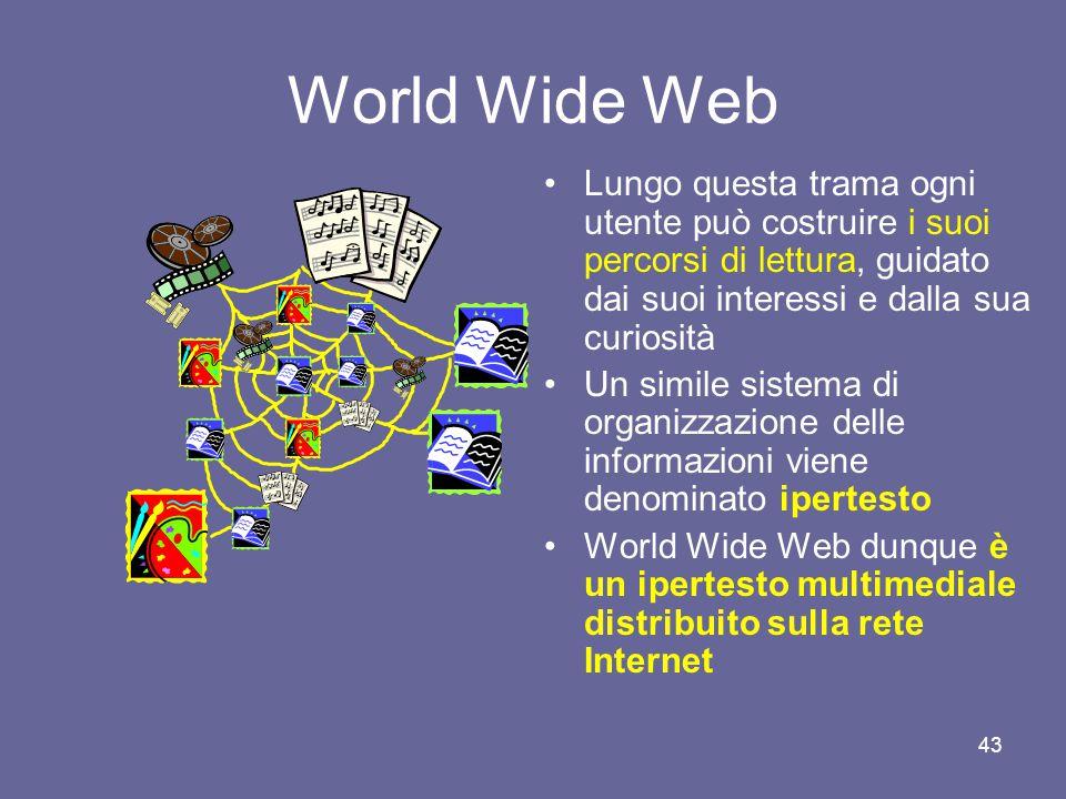 World Wide Web Lungo questa trama ogni utente può costruire i suoi percorsi di lettura, guidato dai suoi interessi e dalla sua curiosità.