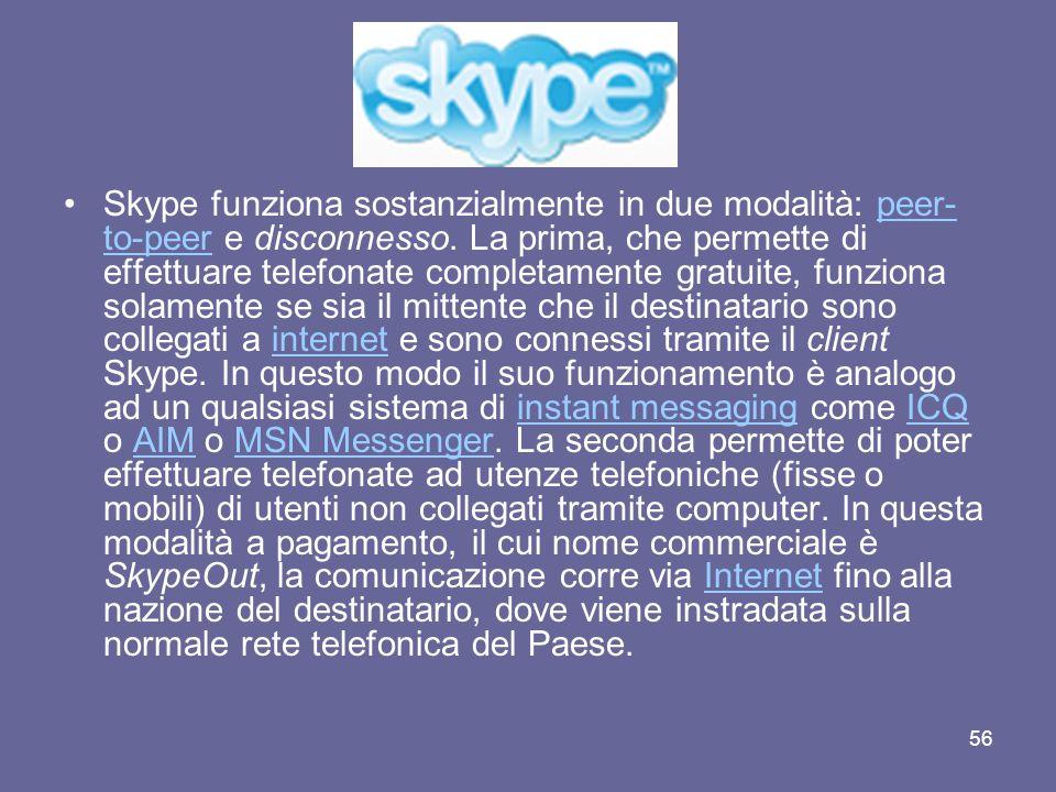 Skype funziona sostanzialmente in due modalità: peer-to-peer e disconnesso.
