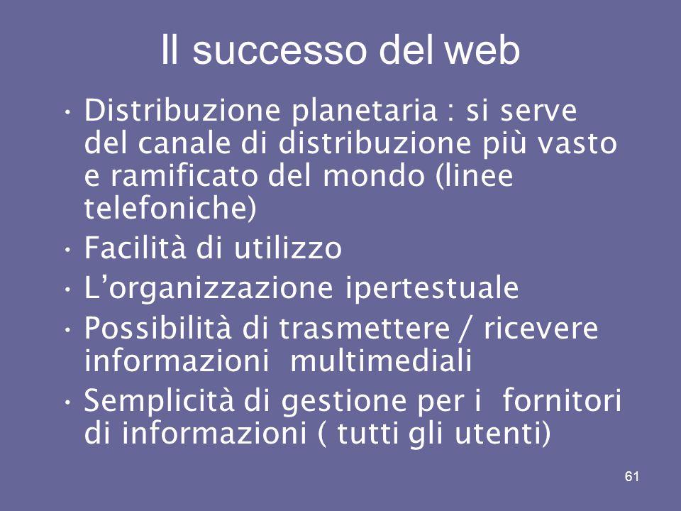 Il successo del web Distribuzione planetaria : si serve del canale di distribuzione più vasto e ramificato del mondo (linee telefoniche)