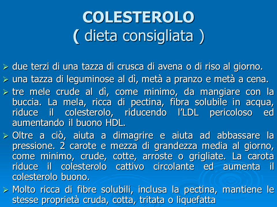 COLESTEROLO ( dieta consigliata )