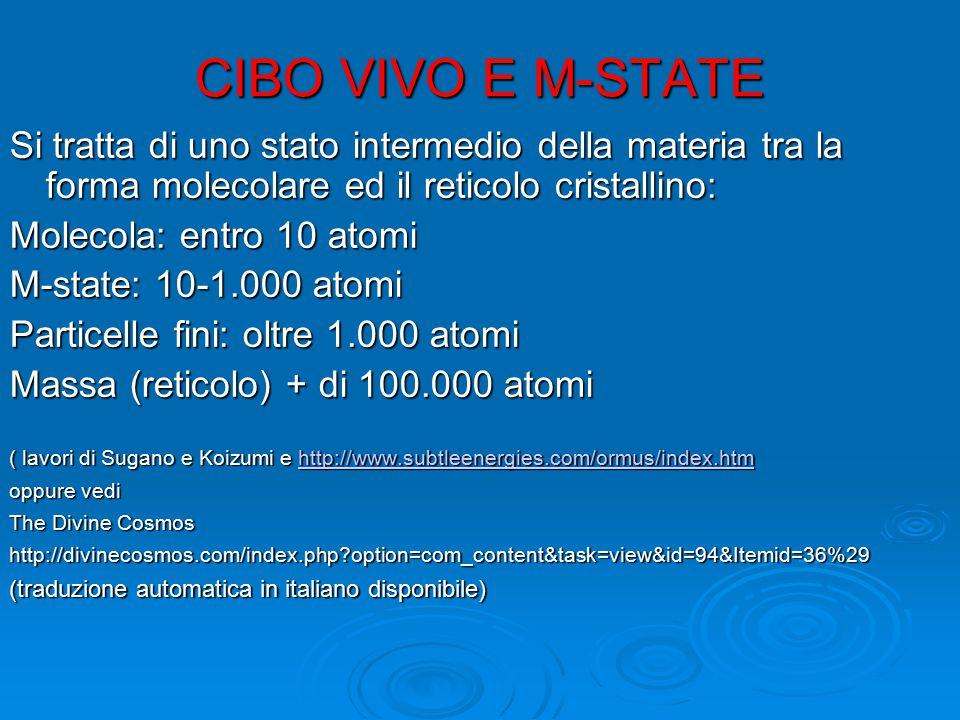 CIBO VIVO E M-STATE Si tratta di uno stato intermedio della materia tra la forma molecolare ed il reticolo cristallino: