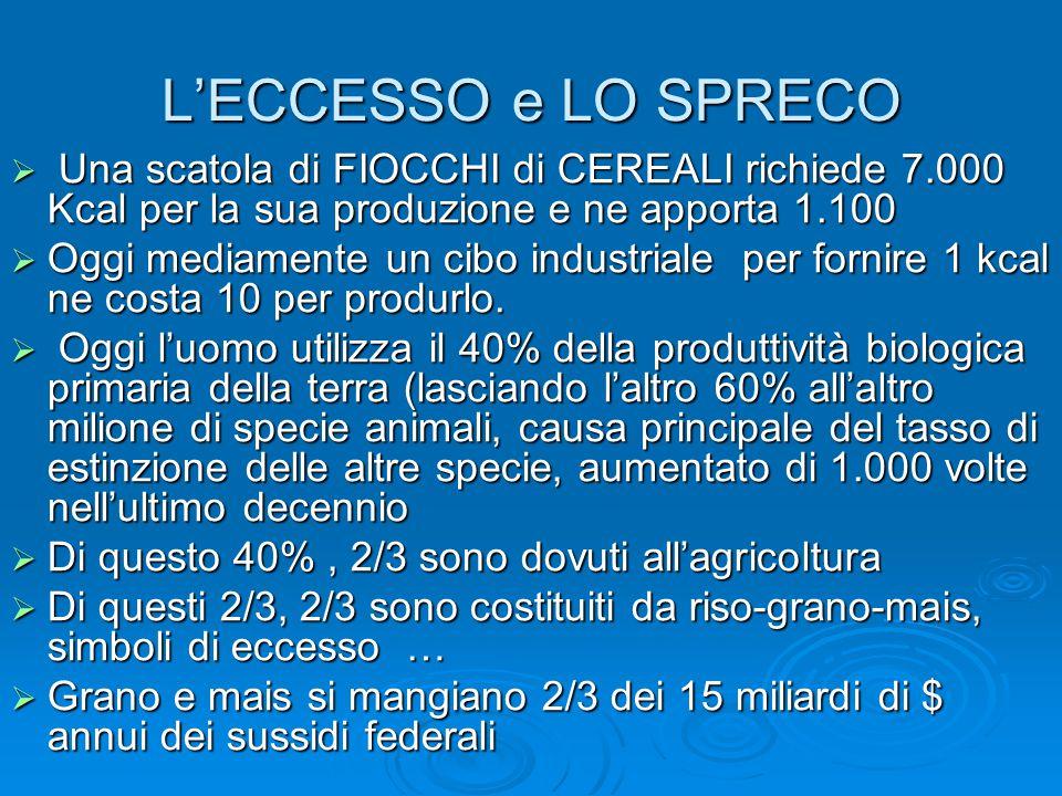 L'ECCESSO e LO SPRECO Una scatola di FIOCCHI di CEREALI richiede 7.000 Kcal per la sua produzione e ne apporta 1.100.