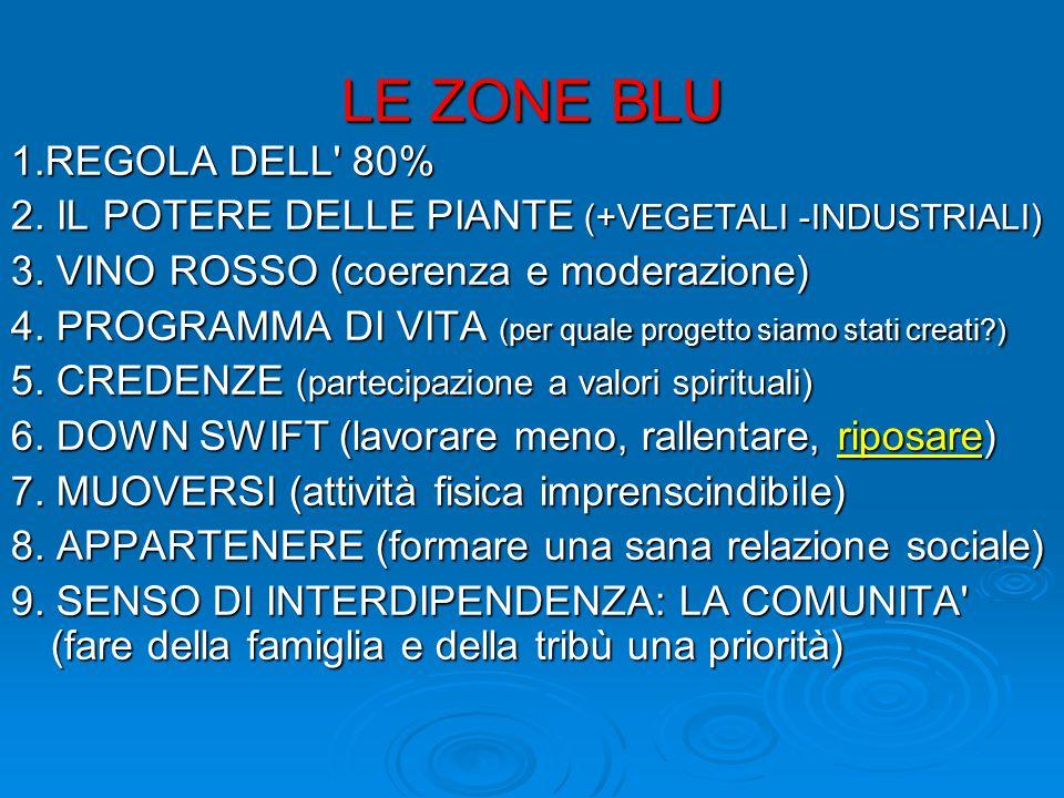 LE ZONE BLU 1.REGOLA DELL 80%