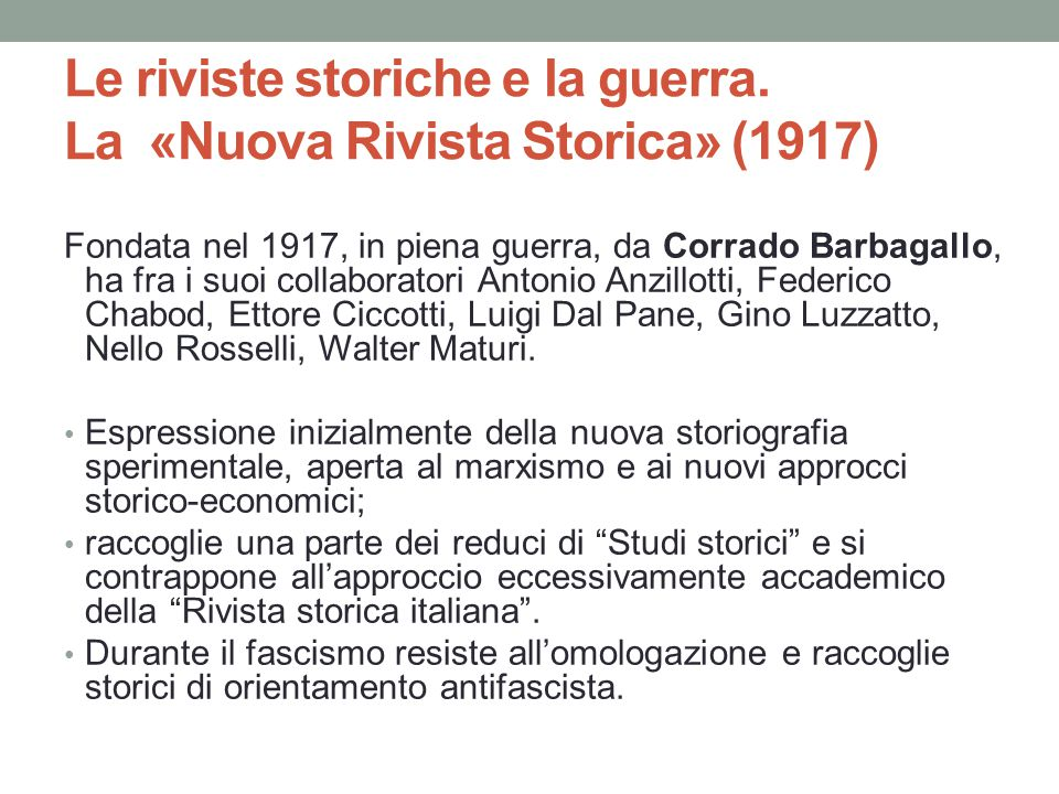 Le riviste storiche e la guerra. La «Nuova Rivista Storica» (1917)