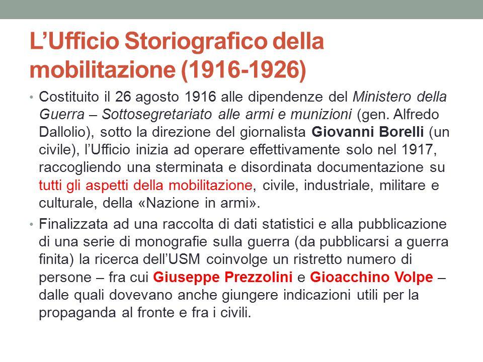 L'Ufficio Storiografico della mobilitazione (1916-1926)