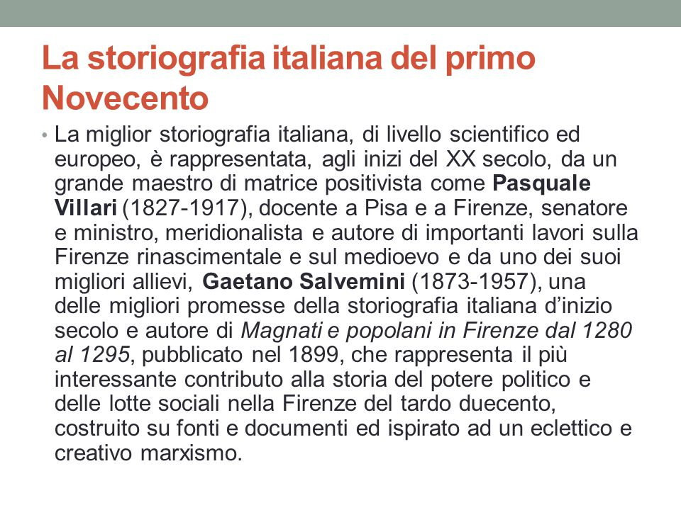 La storiografia italiana del primo Novecento