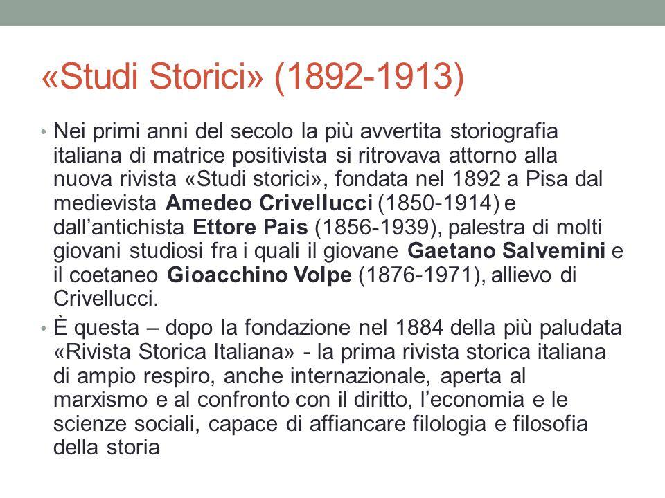 «Studi Storici» (1892-1913)