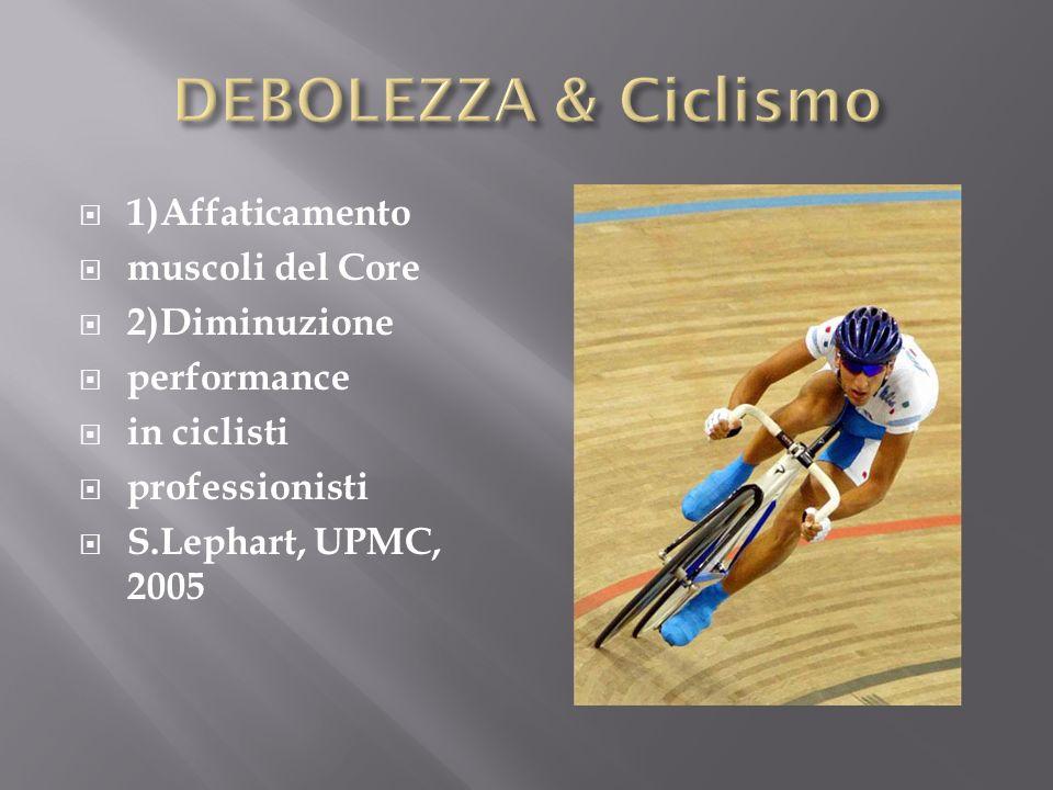 DEBOLEZZA & Ciclismo 1)Affaticamento muscoli del Core 2)Diminuzione