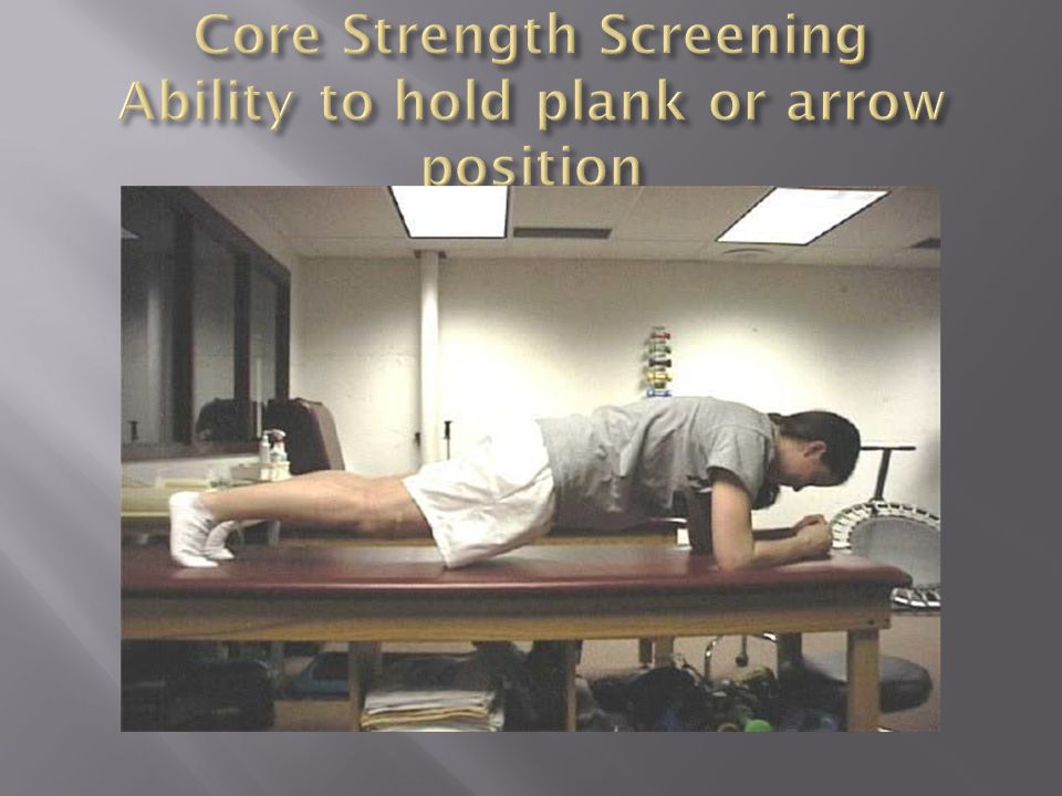 Core Strength Screening Ability to hold plank or arrow position