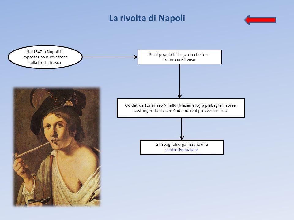 La rivolta di Napoli Nel 1647 a Napoli fu imposta una nuova tassa sulla frutta fresca. Per il popolo fu la goccia che fece traboccare il vaso.