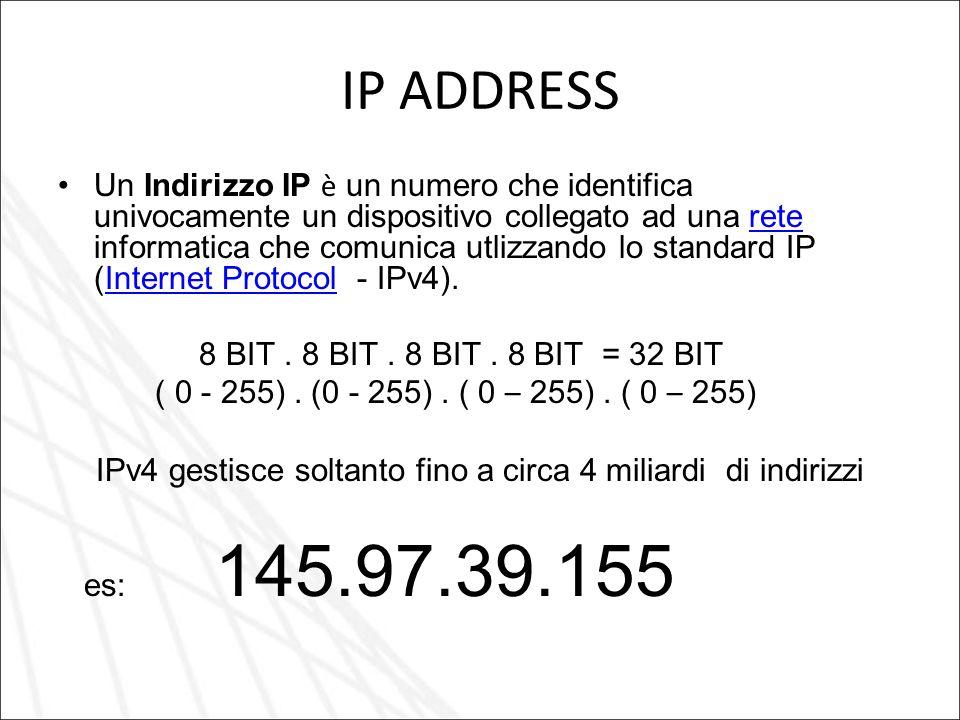 IPv4 gestisce soltanto fino a circa 4 miliardi di indirizzi