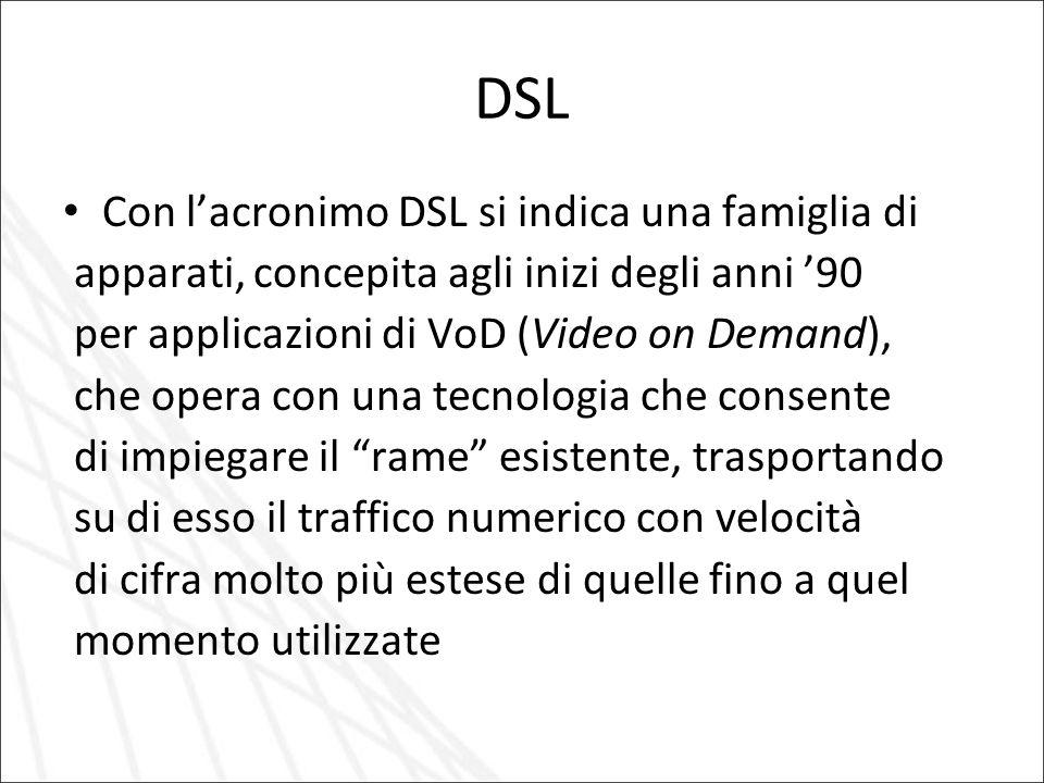 DSL Con l'acronimo DSL si indica una famiglia di