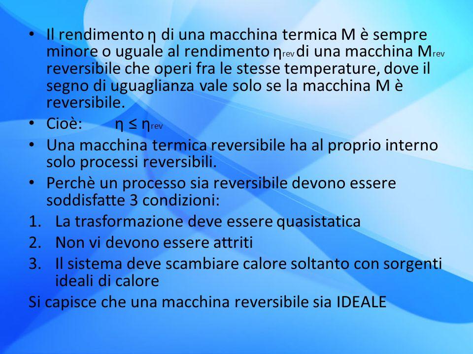Il rendimento η di una macchina termica M è sempre minore o uguale al rendimento ηrev di una macchina Mrev reversibile che operi fra le stesse temperature, dove il segno di uguaglianza vale solo se la macchina M è reversibile.