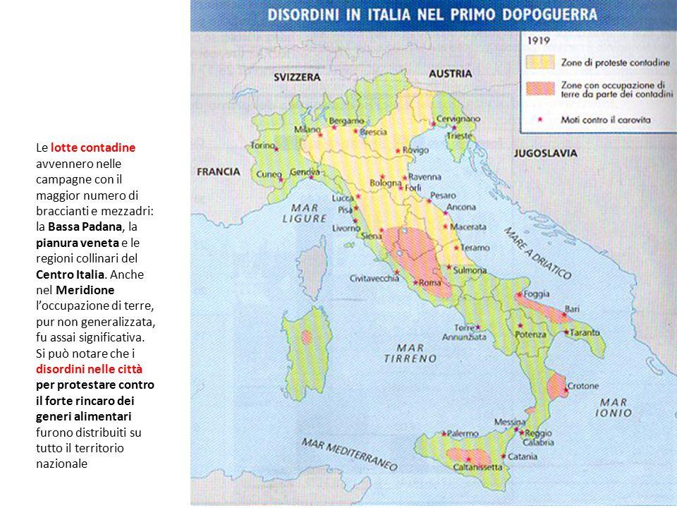 Le lotte contadine avvennero nelle campagne con il maggior numero di braccianti e mezzadri: la Bassa Padana, la pianura veneta e le regioni collinari del Centro Italia.