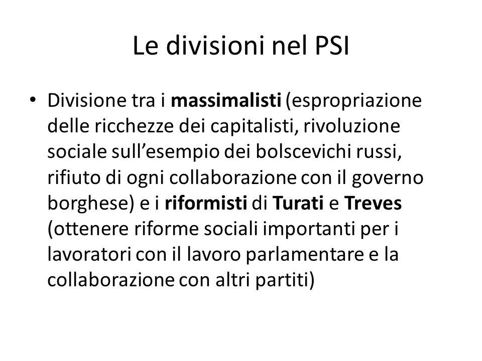 Le divisioni nel PSI