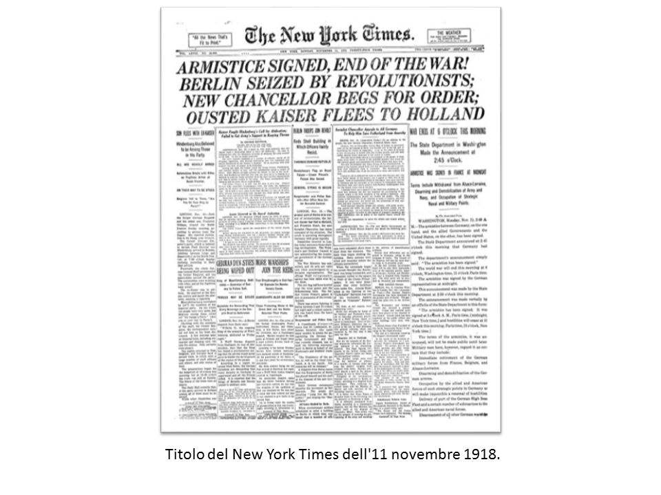 Titolo del New York Times dell 11 novembre 1918.