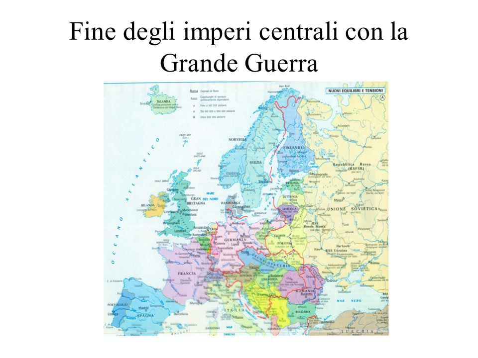 Fine degli imperi centrali con la Grande Guerra