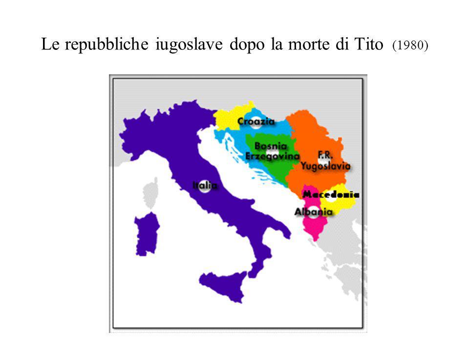 Le repubbliche iugoslave dopo la morte di Tito (1980)
