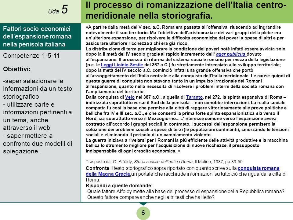 Uda 5 Il processo di romanizzazione dell'Italia centro-meridionale nella storiografia.