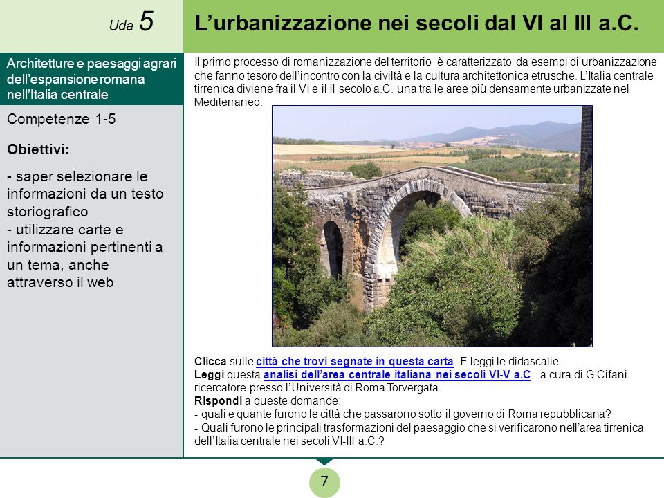 L'urbanizzazione nei secoli dal VI al III a.C.