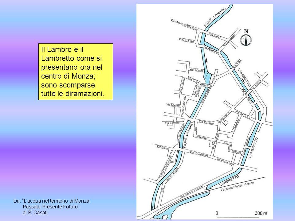 Il Lambro e il Lambretto come si presentano ora nel centro di Monza; sono scomparse tutte le diramazioni.