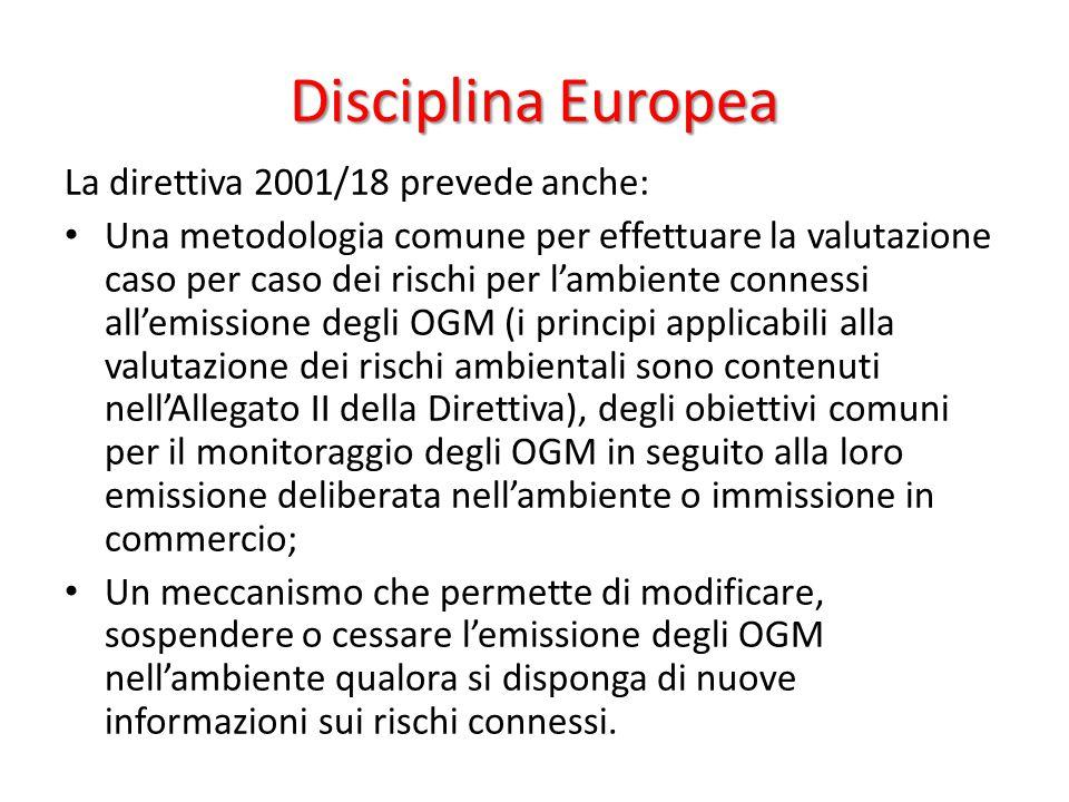 Disciplina Europea La direttiva 2001/18 prevede anche: