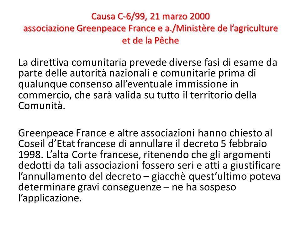 Causa C-6/99, 21 marzo 2000 associazione Greenpeace France e a