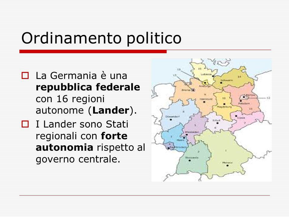 Ordinamento politico La Germania è una repubblica federale con 16 regioni autonome (Lander).
