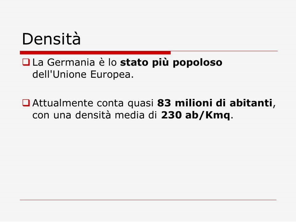 Densità La Germania è lo stato più popoloso dell Unione Europea.