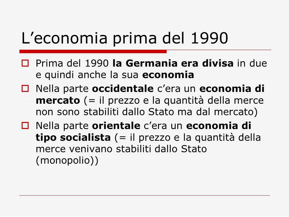L'economia prima del 1990 Prima del 1990 la Germania era divisa in due e quindi anche la sua economia.