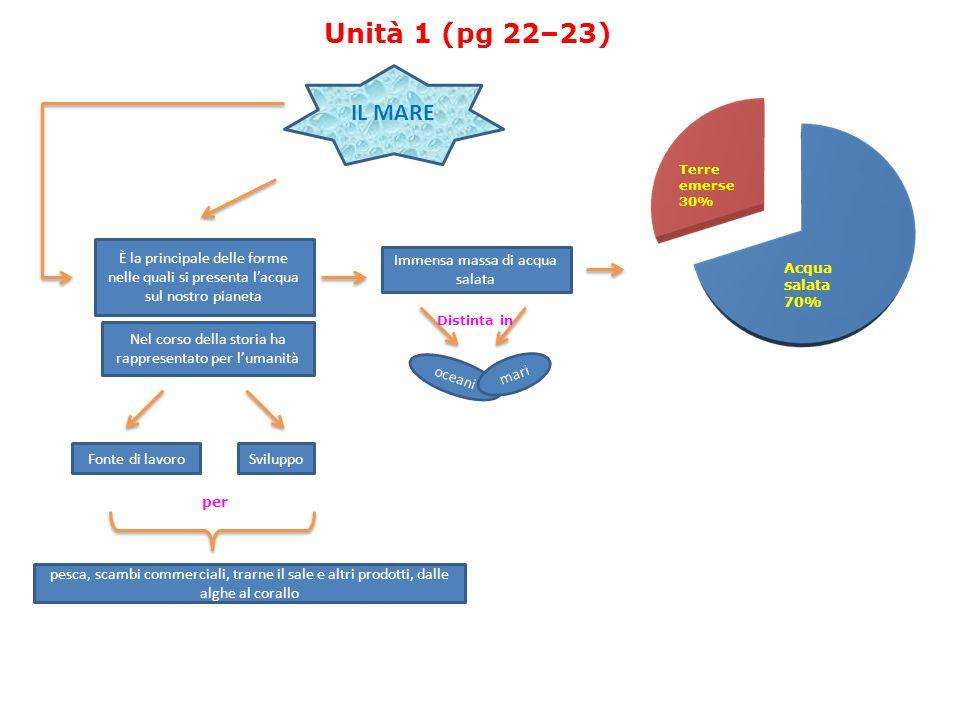 Unità 1 (pg 22–23) IL MARE. Terre. emerse. 30% È la principale delle forme nelle quali si presenta l'acqua sul nostro pianeta.