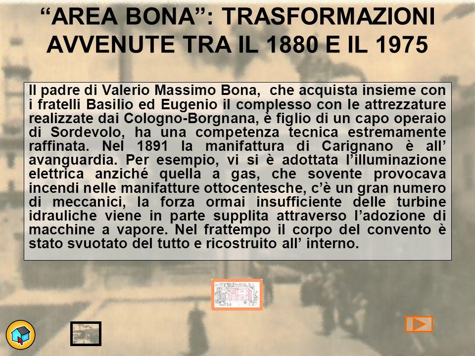 AREA BONA : TRASFORMAZIONI AVVENUTE TRA IL 1880 E IL 1975