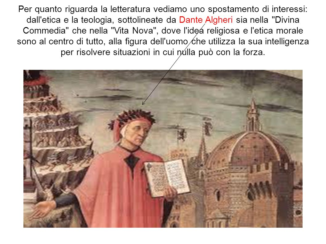 Per quanto riguarda la letteratura vediamo uno spostamento di interessi: dall etica e la teologia, sottolineate da Dante Algheri sia nella Divina Commedia che nella Vita Nova , dove l idea religiosa e l etica morale sono al centro di tutto, alla figura dell uomo che utilizza la sua intelligenza per risolvere situazioni in cui nulla può con la forza.