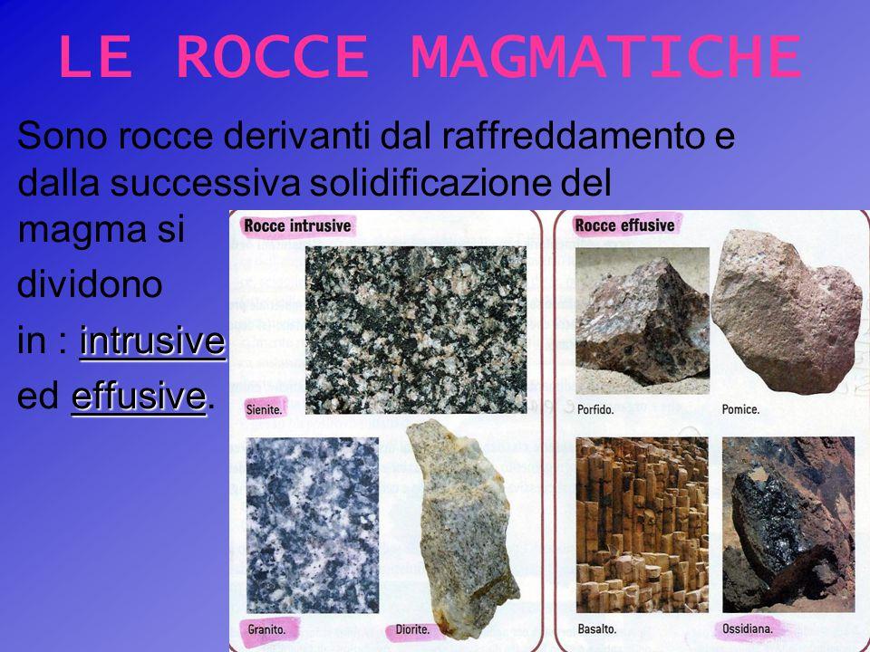LE ROCCE MAGMATICHE Sono rocce derivanti dal raffreddamento e dalla successiva solidificazione del magma si.