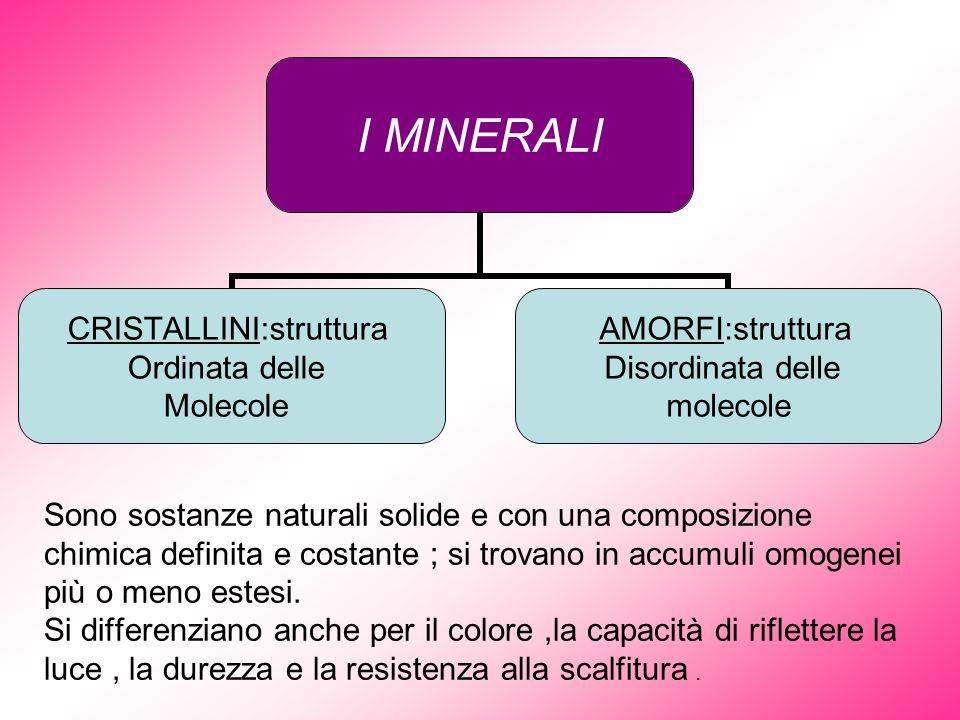 Sono sostanze naturali solide e con una composizione chimica definita e costante ; si trovano in accumuli omogenei più o meno estesi.
