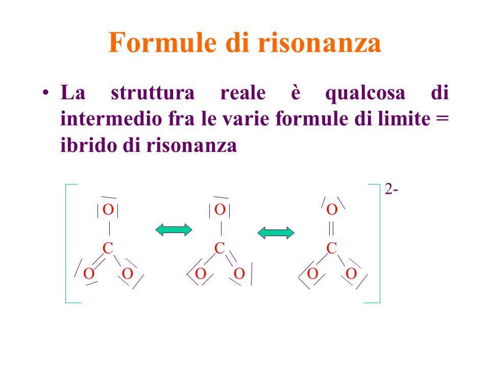 Formule di risonanza La struttura reale è qualcosa di intermedio fra le varie formule di limite = ibrido di risonanza.