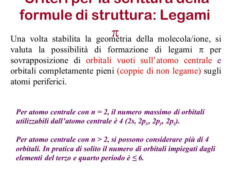 Criteri per la scrittura della formule di struttura: Legami p