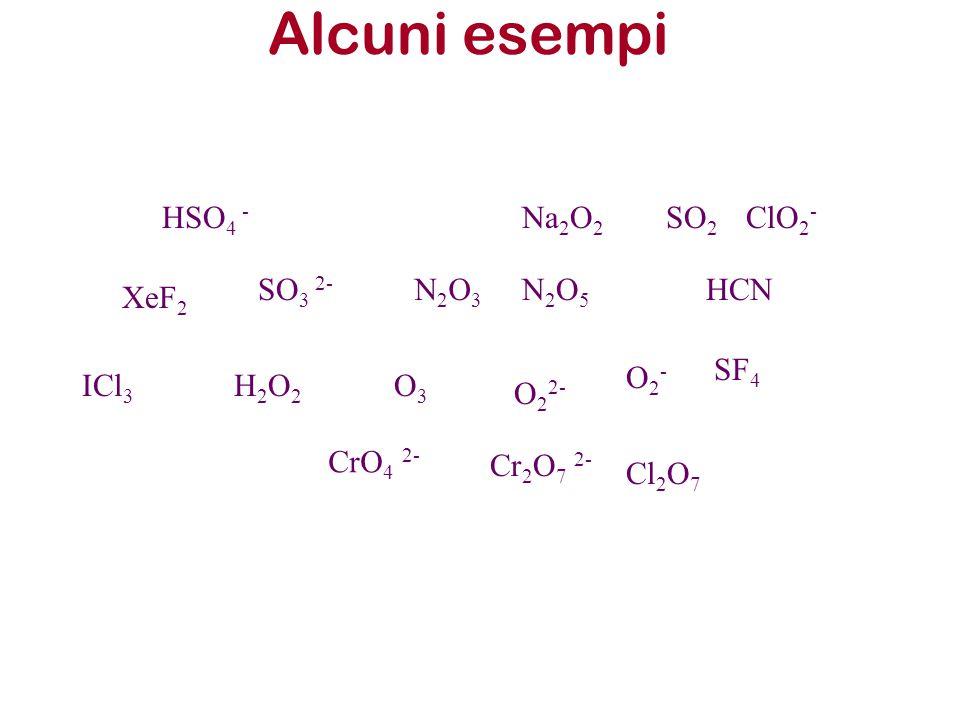 Alcuni esempi HSO4 - Na2O2 SO2 ClO2- SO3 2- N2O3 N2O5 HCN XeF2 SF4 O2-