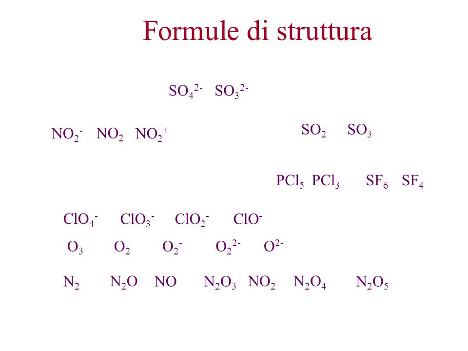 Formule di struttura SO42- SO32- SO2 SO3 NO2- NO2 NO2+ PCl5 PCl3 SF6
