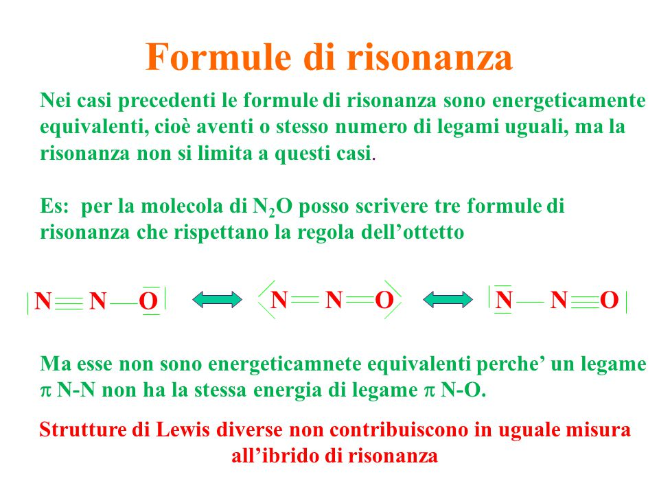 Formule di risonanza N N O N N O N N O