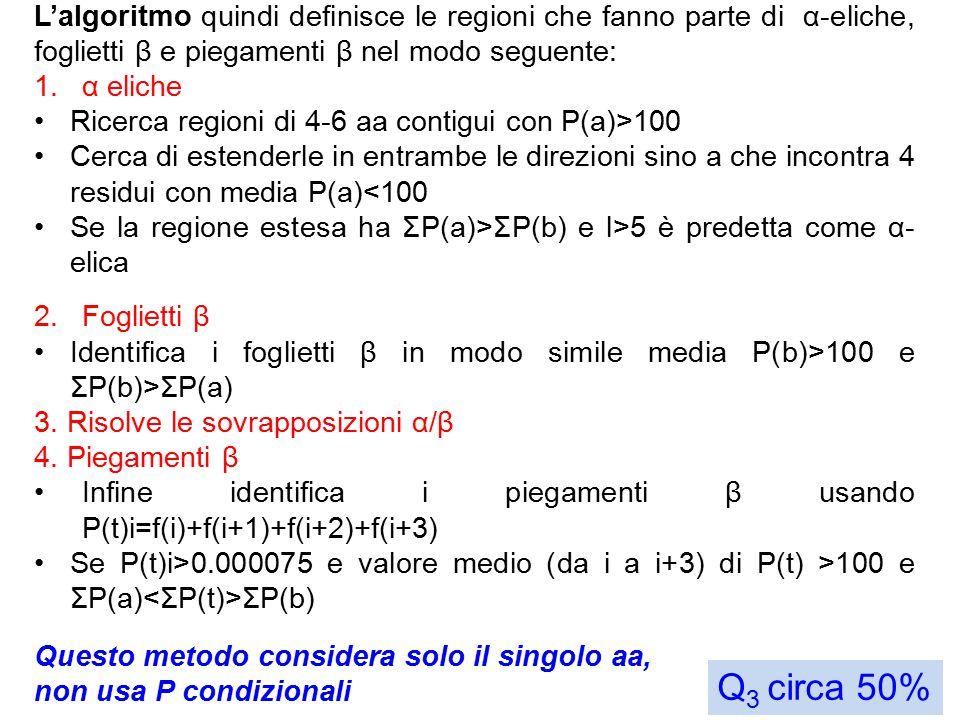 L'algoritmo quindi definisce le regioni che fanno parte di α-eliche, foglietti β e piegamenti β nel modo seguente: