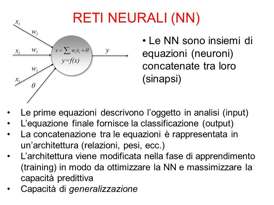 RETI NEURALI (NN) Le NN sono insiemi di equazioni (neuroni) concatenate tra loro. (sinapsi)