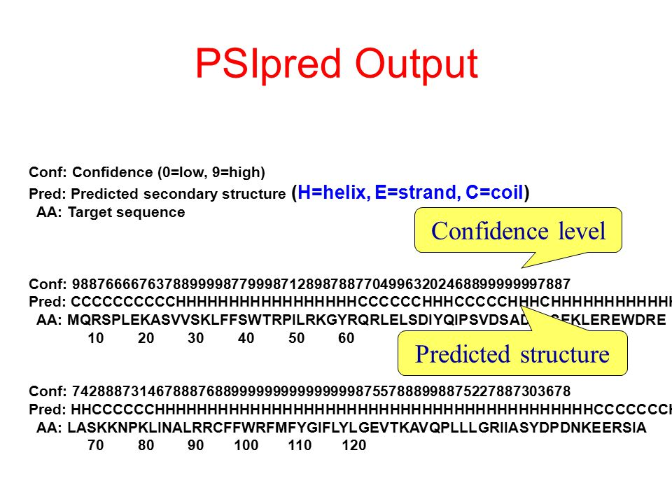 PSIpred Output Confidence level Predicted structure