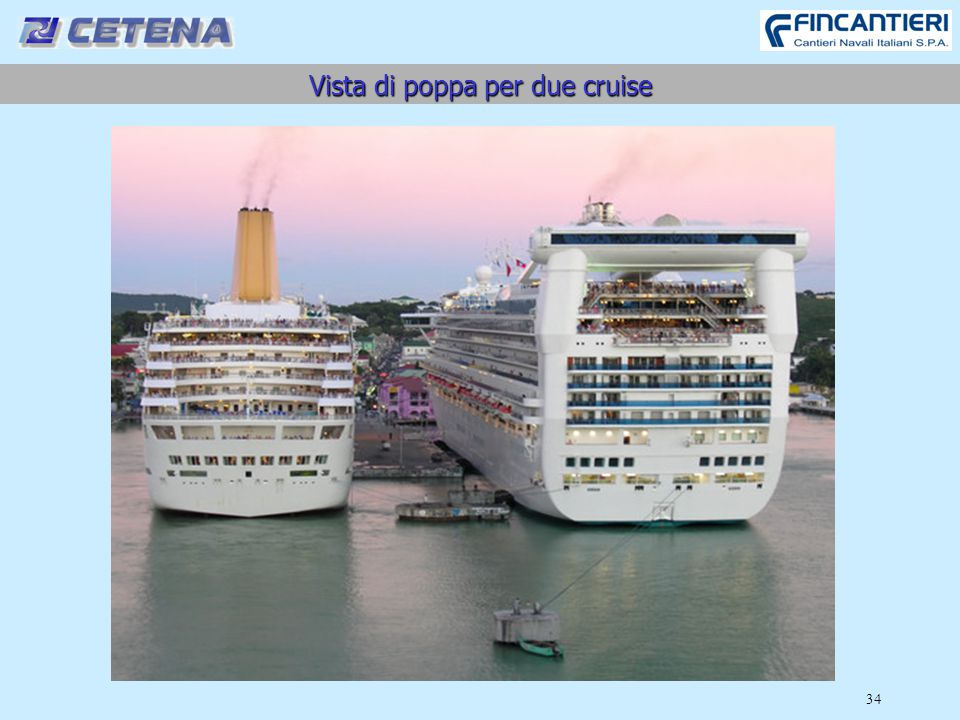 Vista di poppa per due cruise