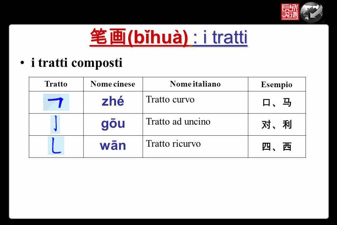 笔画(bǐhuà) : i tratti zhé i tratti composti gōu wān 口、马 Tratto curvo