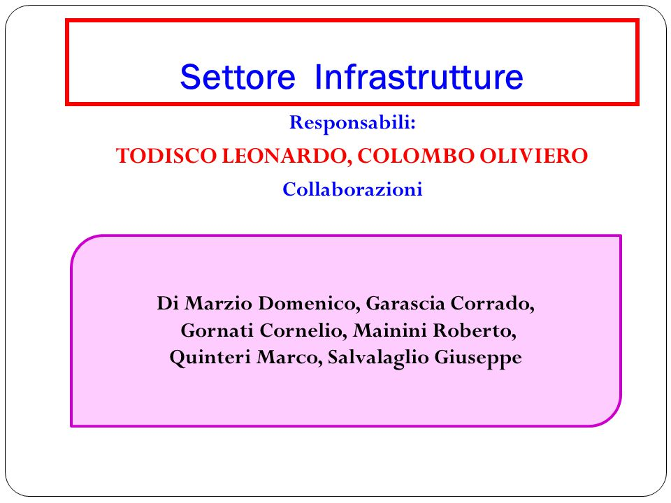 Settore Infrastrutture