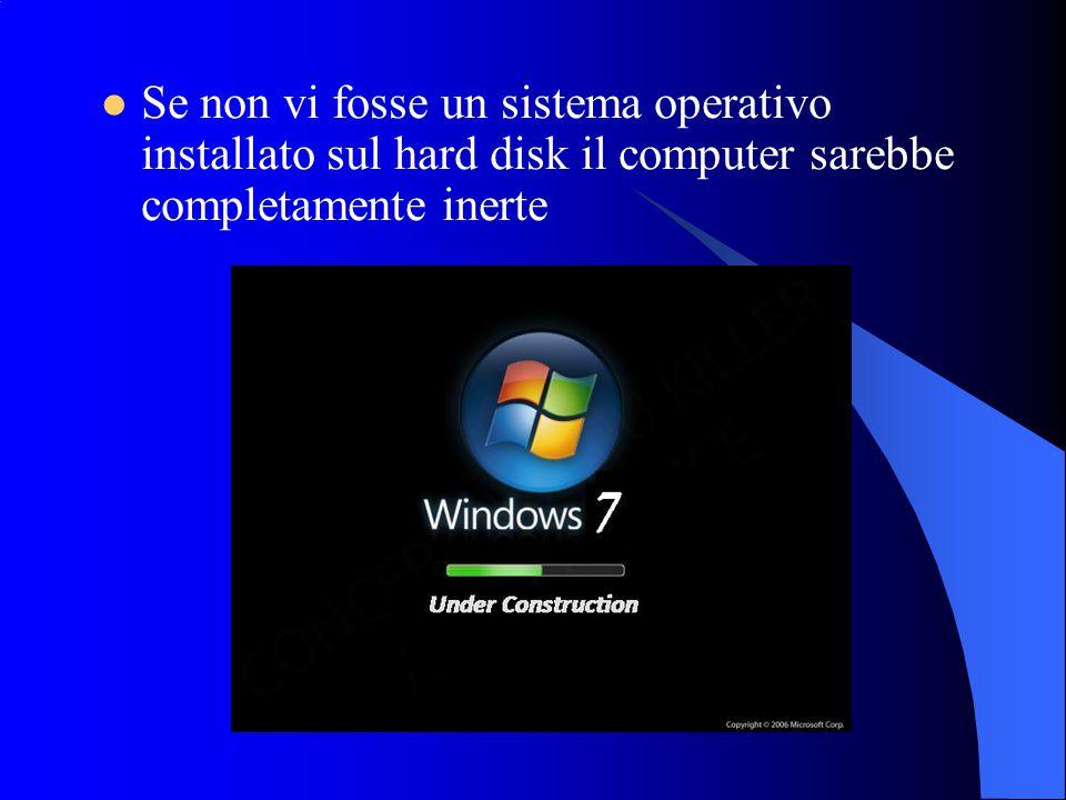 Se non vi fosse un sistema operativo installato sul hard disk il computer sarebbe completamente inerte