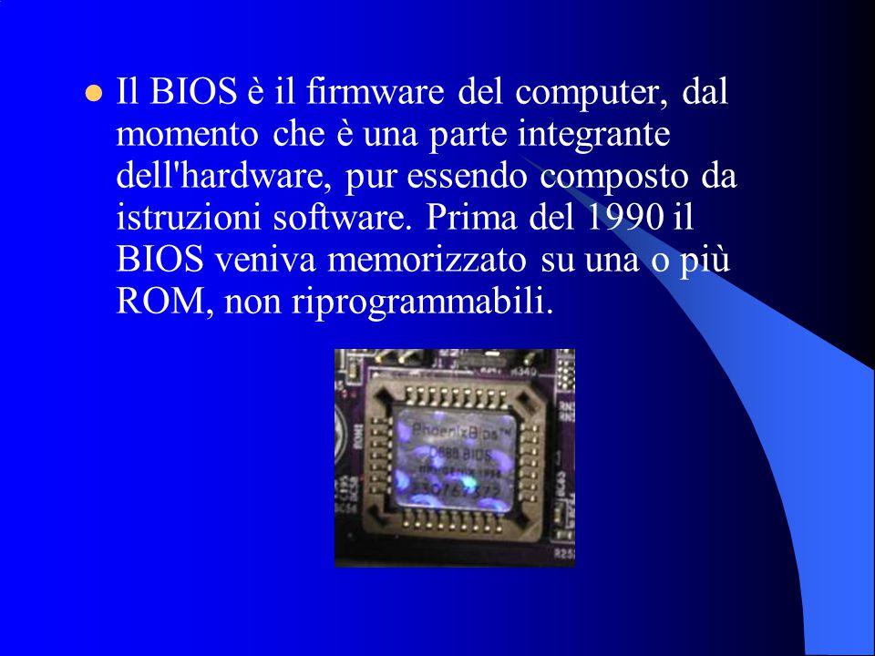 Il BIOS è il firmware del computer, dal momento che è una parte integrante dell hardware, pur essendo composto da istruzioni software.