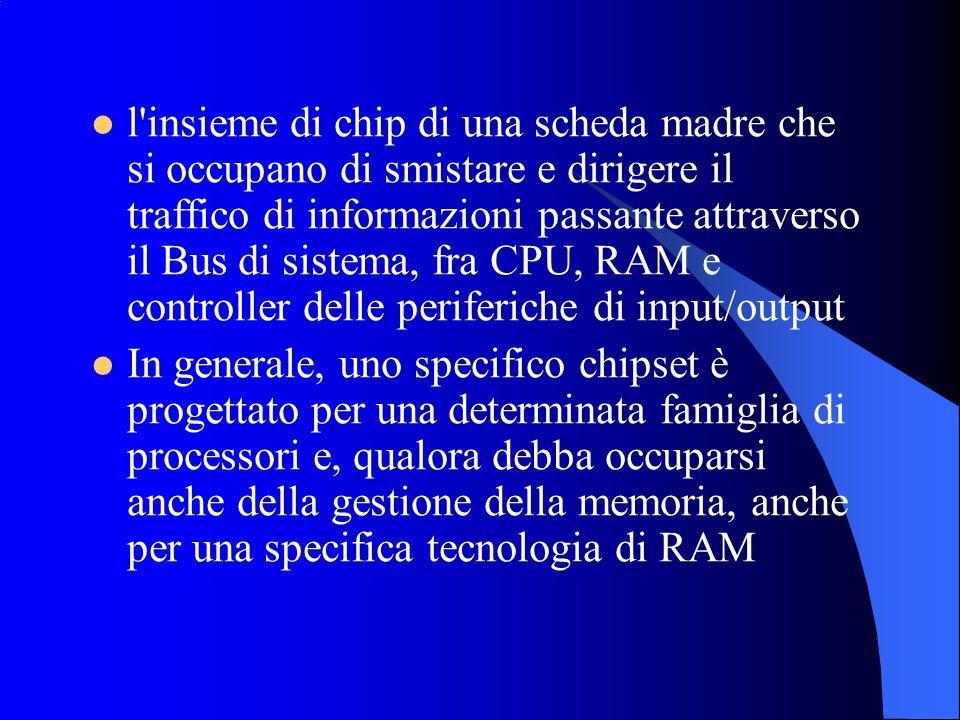 l insieme di chip di una scheda madre che si occupano di smistare e dirigere il traffico di informazioni passante attraverso il Bus di sistema, fra CPU, RAM e controller delle periferiche di input/output